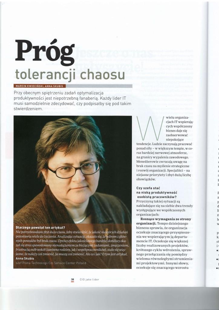 CIO Magazine - Prog tolerancji chaosu - Marcin Kwiecinski Anna Skubis